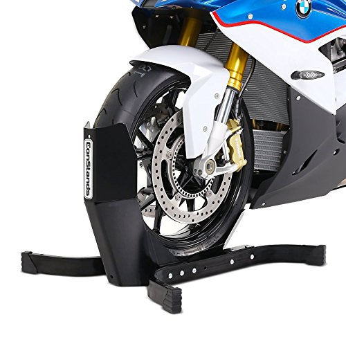 ConStands Easy Plus-Motorcycle Stand Ducati 1299 Panigale S Black Matt Paddock Front Wheel Chock Transport Motorbike Rocker Universal